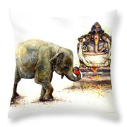 Elephant With Ganesha Throw Pillow