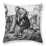 Elephants And Tiger, 1890 Throw Pillow