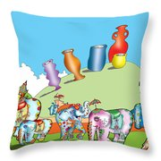 Elephants And Urns On A Hill Throw Pillow