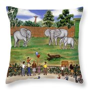Elephants At The Zoo Throw Pillow