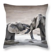 Elephants From Africa Throw Pillow