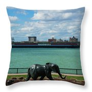 Elephants Go A Marching  Throw Pillow
