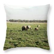 Elephants Grazing Throw Pillow