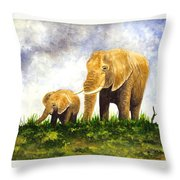Elephants - Mother And Baby Throw Pillow