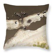 Elephants On The Banks Of The Chobe Throw Pillow