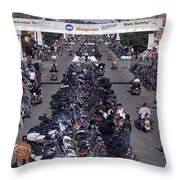 Elevated Panoramic View Of Main Street Throw Pillow