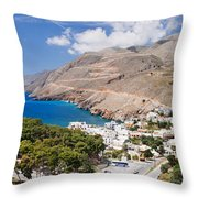 Elevated View Of The Hora Sfakion Throw Pillow