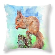 Elevenses - Red Squirrel Throw Pillow