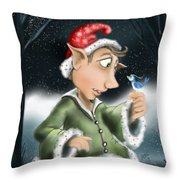 Elf And Bird Throw Pillow
