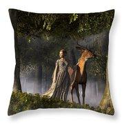 Elf And Buck Throw Pillow