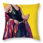 Elida Cremes In Sonne Und See - Woman In Swimsuit - Vintage Advertising Poster Throw Pillow
