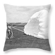 Elinor Smith Parachutes Throw Pillow