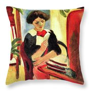Elisabeth At Her Desk 2 By August Macke Throw Pillow