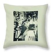 Elizabeth Eckford Making Her Way To Little Rock High School 1958 Throw Pillow