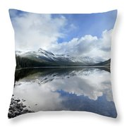 Elizabeth Lake Detail 2 - Glacier National Park Throw Pillow