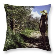 Eliza's Walk In The Countryside. Throw Pillow