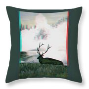 Elk - Use Red-cyan 3d Glasses Throw Pillow