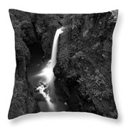 Elk Falls In The Canyon Black And White Throw Pillow