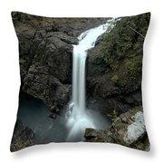 Elk Falls Provincial Park Waterfall Throw Pillow