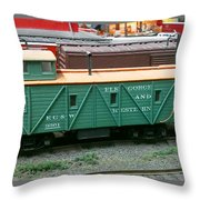 Elk Gorge And Western Caboose Throw Pillow