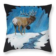 Elk In Snow Throw Pillow
