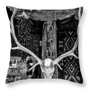 Elk Skull In Black And White Throw Pillow