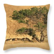Elk Under Tree Throw Pillow