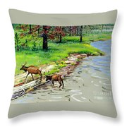 Elks Crossing Throw Pillow