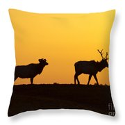 Elks In Silhouette Throw Pillow