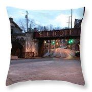 Ellicott City Nights - Entrance To Main Street Throw Pillow