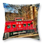 Ellicott City Train And Factory Throw Pillow