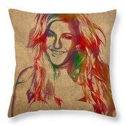 Ellie Goulding Watercolor Portrait Throw Pillow