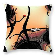 Elliott Bay Ferry Fractal Throw Pillow