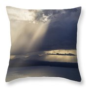 Elliott Bay Storm Clouds Ferry Throw Pillow