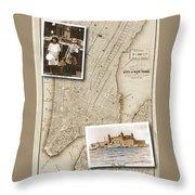 Ellis Island Vintage Map Child Immigrants Throw Pillow