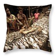 Elmina Fish Sellers Throw Pillow