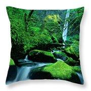 Elowah Falls 3 Columbia River Gorge National Scenic Area Oregon Throw Pillow
