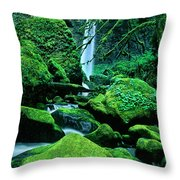 Elowah Falls 4 Columbia River Gorge National Scenic Area Oregon Throw Pillow