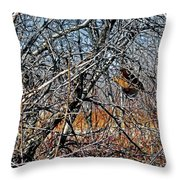Elusive Woodcock's Woody Environment Throw Pillow