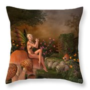 Elven Beautiful Woman With Flute Throw Pillow