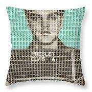 Elvis Army Mug Shot - Blue Throw Pillow