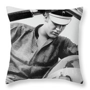 Elvis And His Bike Bw Throw Pillow
