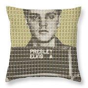 Elvis Army Mug Shot - Gold Throw Pillow
