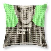 Elvis Army Mug Shot - Green Throw Pillow
