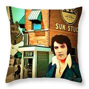 Elvis Presley The King At Sun Studio Memphis Tennessee 20160216 Square Throw Pillow