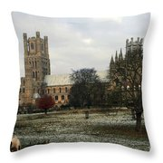 Ely Cambridgeshire, Uk.  Ely Cathedral  Throw Pillow