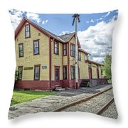 Ely Vermont Train Station Throw Pillow