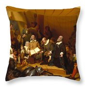 Embarkation Of The Pilgrims Throw Pillow