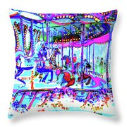 Embellished Carousel Extravaganza Throw Pillow