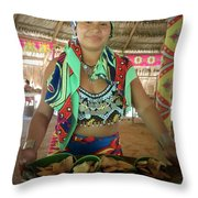Embera Indian Lady Serving A Meal Throw Pillow